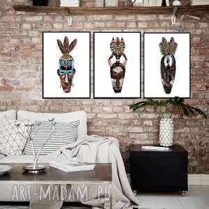 Prezent ZESTAW 3 GRAFIK B2 AFRYKAŃSKIE MASKI, boho, maski, afrykańskie, afryka
