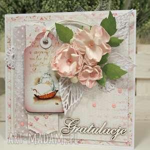 wyjątkowy prezent, pastelowa, kartka, życzenia, scrapbooking