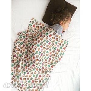 ręcznie robione pokoik dziecka otulacz muślinowy 75 x 100 cm sowy