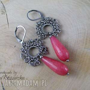 Kolczyki z różowym Jadeitem, wire wrapping, kolczyki, jadeit, wire-wrapping