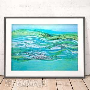 morze grafika, morski plakat, turkusowy ładna abstrakcja, turkusowa