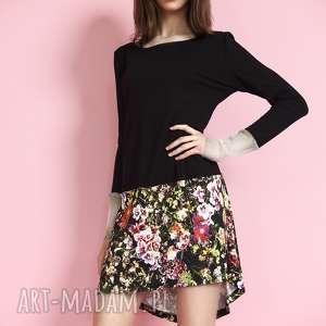 sukienka czarno - kwiatowa, sukienka, tunika, asymetryczna, kwiaty