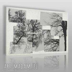 obraz na płótnie - drzewa czarno-biały 120x80 cm 63001, drzewa, gałęzie, kartki