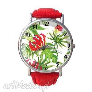 tropikalne kwiaty - skórzany zegarek z dużą tarczą