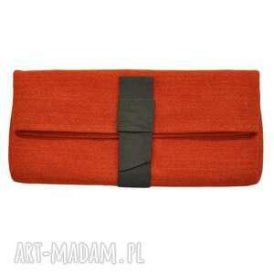 02-0005 kopertówka pomarańczowa z kokardą wizytowa do ręki starling, eleganckie