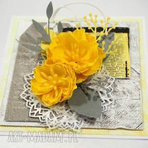 scrapbooking kartki żółte kwiaty, kartka, życzenia, scrapbooking
