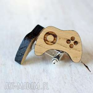 handmade spinki do mankietów drewniane gamepad