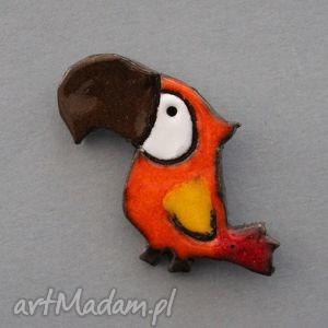 papla-broszka ceramiczna - papuga, prezent, upominek, święta, urodziny, przypinka