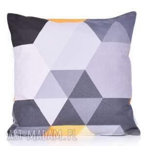 poduszka bawełnina hexagony żółto-szare 40x40cm wyprzedaż, heksagony, żółto