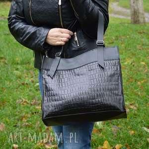 hand-made na ramię skórzana torebka, czarna, shooper