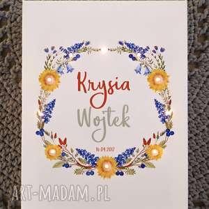 obraz led, wianek, słoneczniki, polne kwiaty, prezent ślubny, dla młodej pary