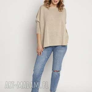 swetry luźny sweterek, swe040 beż mkm, sweter na lato, bluzka