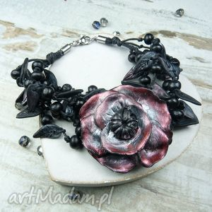 bransoletki bransoletka metaliczny mak, bransoletka, kwiat, biżuteria, unikat