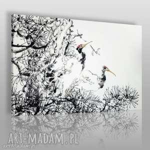 obrazy obraz na płótnie - żurawie japonia 120x80 cm 61901, żuraw, żurawie