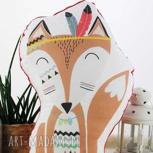 poduszka przytulanka, indiański lisek, bawełna, czerwone minky