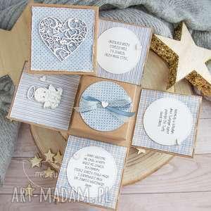 hand-made scrapbooking kartki urocze eksplodujące pudełeczko z aniołkiem. Narodziny