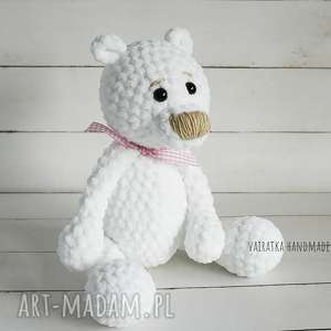 miś amigurumi biały, 307, zabawka, maskotka, amigurumi, miś
