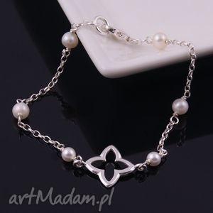 Delikatna bransoletka z białych pereł - ,delikatna,bransoletka,srebrna,perły,