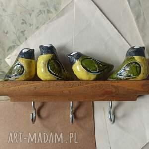 wieszak z sikorkami krótkim, ceramika, wieszak, drewno, ptaszki, sikorki