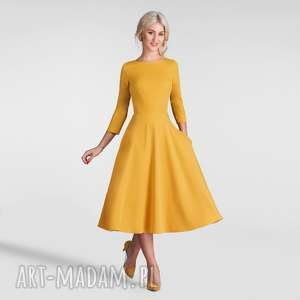 hand-made sukienki sukienka klara 3/4 total midi miodowy