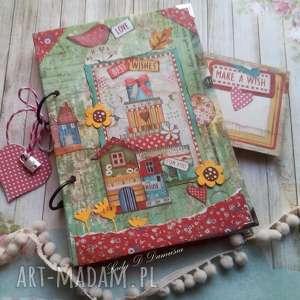pamiętnik/ sekretnik z domkiem patchworkowym, notes, domek, życzenia, kłódka