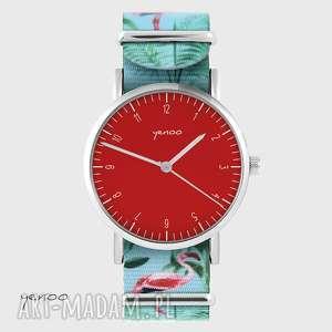 zegarki zegarek - simple elegance, czerwony flamingi, nato