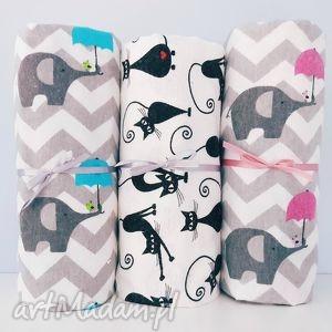 dla dziecka flanelkowy kocyk 75x95 słoniki z różową parasolką, koc