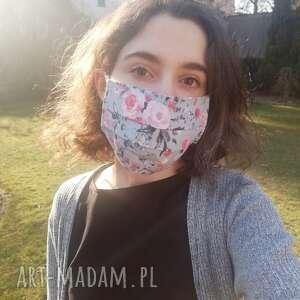 maseczka, maska dwuwarstwowa ochronna do wielokrotnego użytku, motyw kwiatowy