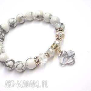 Marble /koniczynka /14-03-19/ - bransoletka, howlity, koniczynka, żywica,