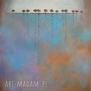 obraz na płótnie - drzewa w brązach 40/30 cm, abstrakcja, brąz, akryl