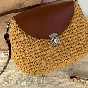 szydełkowa torebka handmade kuferek kolor miód, torebka