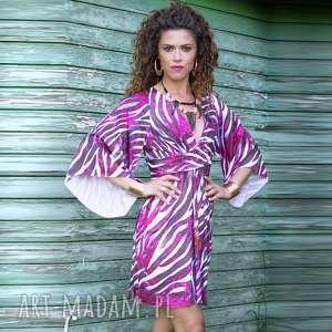 Sukienka z szerokimi rękawami, luźna, zeberka, jersey