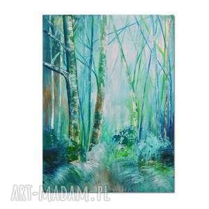 forest blues /1/, las, obraz ręcznie malowany, obraz, ręcznie, pejzaż