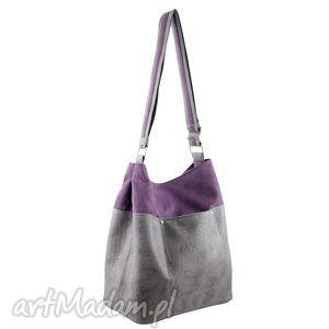 na ramię frida - torba worek fiolet i szarość, duża, pojemna, wyjątkowa, oryginalna