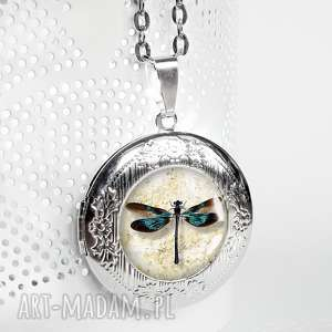 otwierany medalion z waŻkĄ - idealny na prezent - sekretnik, otwierany, ważka