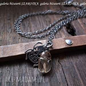 zŁoty skarabeusz naszyjnik z kryształem swarovski - kryształ, swarovski