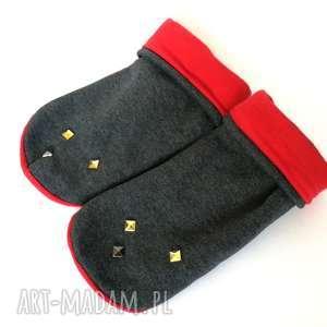 hand made rękawiczki mitenki dzianinowe ćwieki