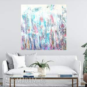 nowoczesny obraz do salonu 100x100, duży obraz, akryl na płótnie, ręcznie