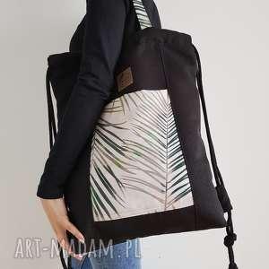 hand-made plecakotorba 2w1 - czarnobeżowa w palmy