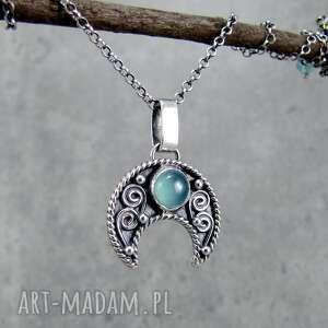 naszyjniki lunula swirl z błękitnym chalcedonem, księżyc, lunula, symbol