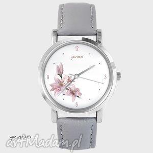 hand made zegarki zegarek, bransoletka - różowa lilia - szary, skórzany