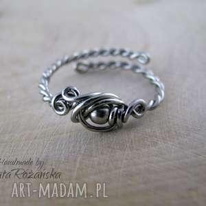 Pierścionek regulowany, wire wrapping, wire-wrapping, pierścionek, stal-chirurgiczna