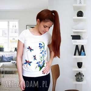 ręcznie wykonane koszulki bluzka malowana - ważki i kwiaty