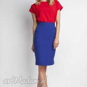 Klasyczna spódnica, SP112 indygo, elegancka, ołówkowa, kobieca, obcisła, niebieska,