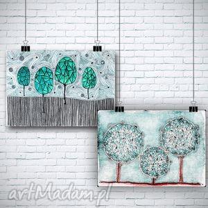 zestaw 2 prac - drzewa, drzewka, natura, widok, plakat