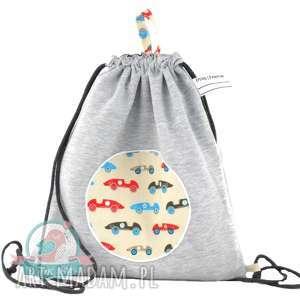 Worek-plecak wodoodporny z dresu retro auta, worek, plecak, szkoła, przedszkole, auta