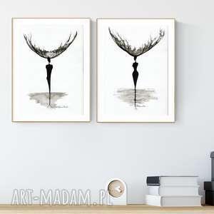 zestaw 2 grafik A4 wykonanych ręcznie, abstrakcja, elegancki minimalizm