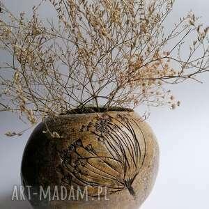 Wazon kula z koprem ceramika evaart ceramika, ręcznie wykonany