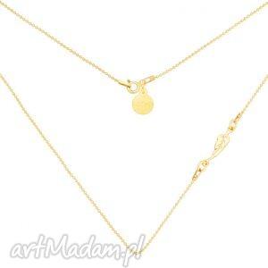 złoty naszyjnik z piórkiem sotho - piórko, kuleczkowy modowy