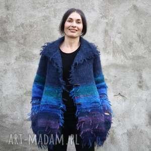 sweter kudłacz granatowo niebieski, unikat, prezent, dla niej, wełna